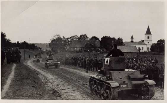 Tanks Vickers on near Ergli (Ērgļu).In the foreground machine number 209. Approximately 1935