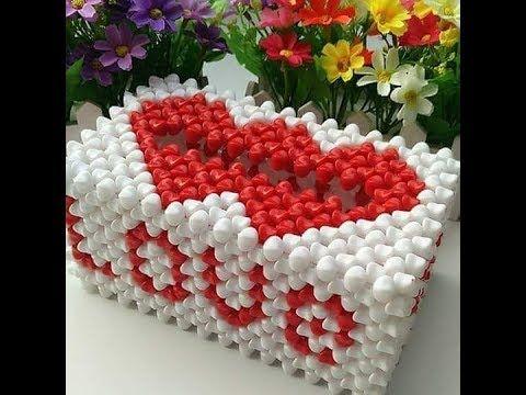 388 خرز علبة مناديل Love قلبين غرزة مستطيلة غرزة رباعية Youtube In 2021 Bracelet Crafts Crafts Beads