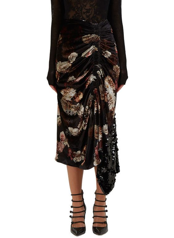 Women's Skirts - Clothing | Order Now at LN-CC - Jet Ruched Floral Velvet Skirt