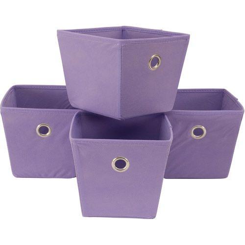 Mainstays Non-Woven Bins, 4pk: Room Mainstays, Purple Bins, Bins 4Pk, Room Ideas, Baby Girl, Dorm Ideas, 88 Mainstays, Storage Bins, Woven Bins