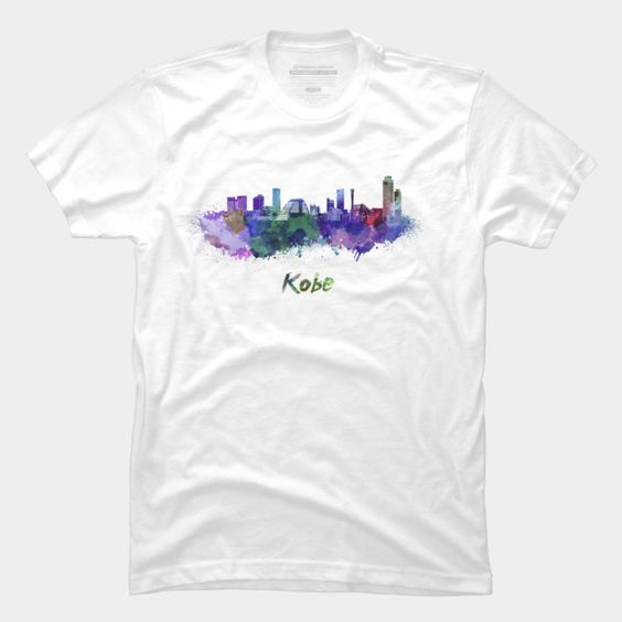 Kobe Skyline In Watercolor T Shirt Rf02 In 2020 Mens Tops T