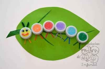 Un simpático gusanito de colores con tapones reciclados » Actividades infantil