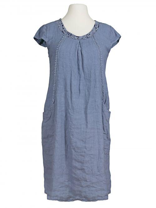 Damen Leinenkleid mit Häkelspitze, blau von Spaziodonna bei www.meinkleidchen.de