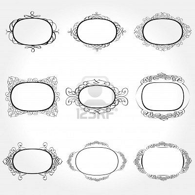 Vector Frame Set ornamental vintage decoration Stock Photo