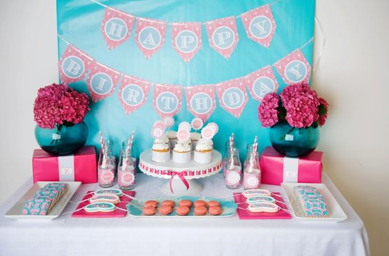 A turquoise and pink spa birthday party perfect for a girly girl.