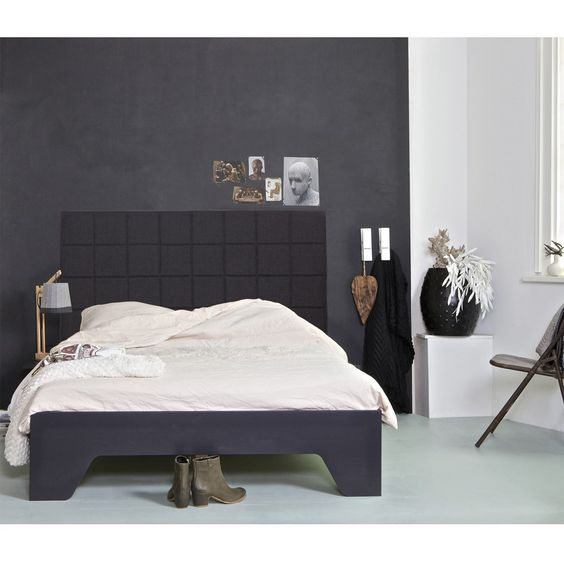 woood Connect Bed Zwart/Antraciet - 140 x 200 cm