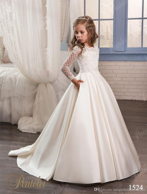 Wedding Dresses For Little Girls 2017 Pentelei Cheap With Long Sleeves And Pockets Appliques Satin Ivory Flower Girl