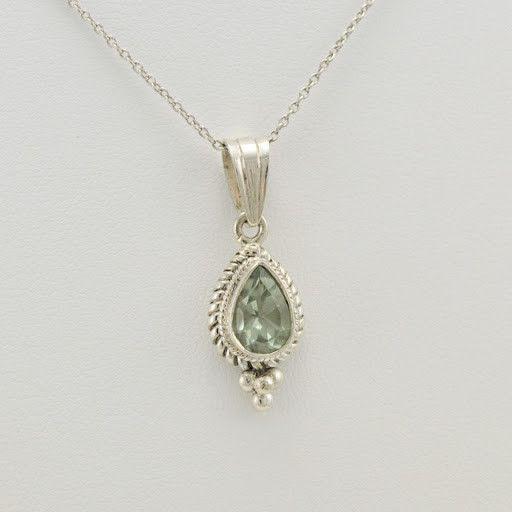 [794] sterling silver green amethyst 7x9mm tear pendant