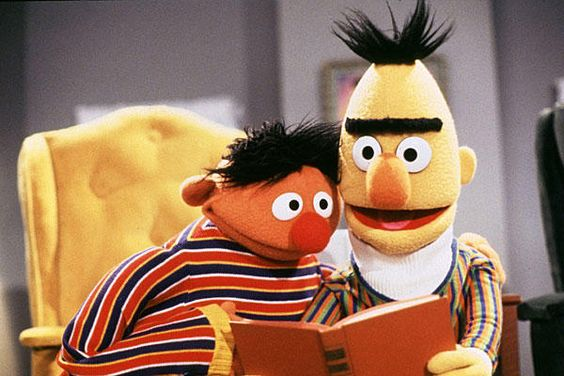 Ernie and Bert, and all muppets, and all Sesame Street, etc. ernie was my absolute favorite as a child and I realize now as an adult why that was.
