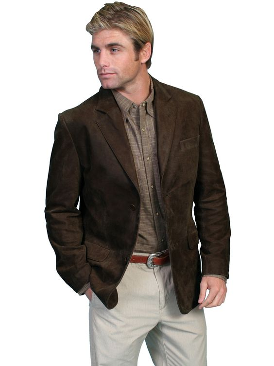 Scully Leather Mens Brown Button Front Contemporary Blazer