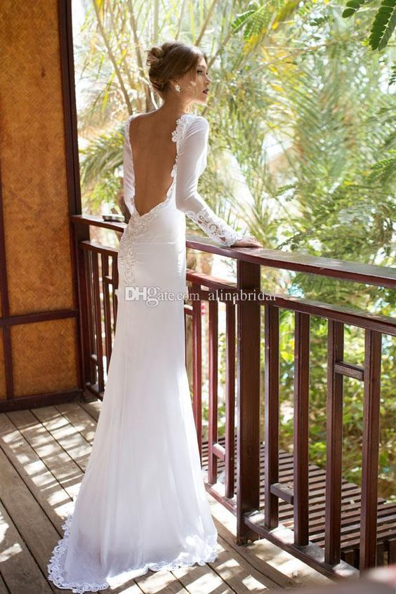 2015 Karen Long Sleeves Julie Vino Wedding Dresses Sexy Backless Lace Applique Front Split Sheath Bridal Gowns Vestidos De Novia