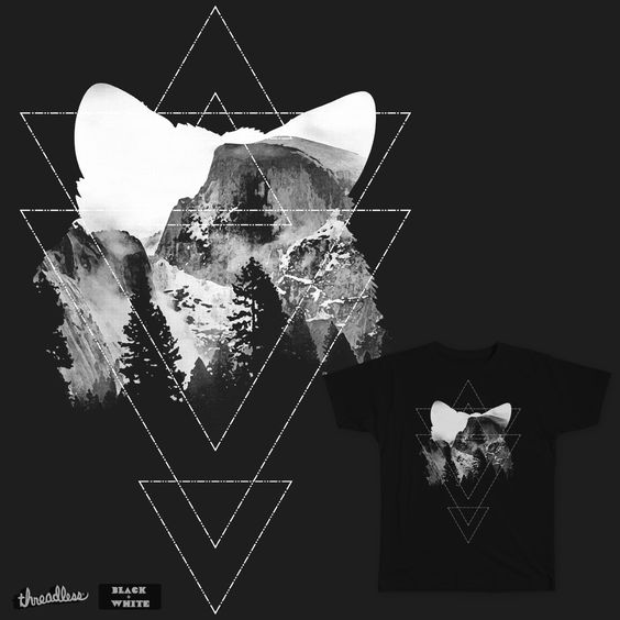 Mountain Fox on Threadless Hipster fox design with triangle pattern.