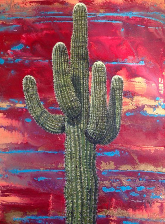 30x40 acrylic on canvas southwest desert art red saguaro