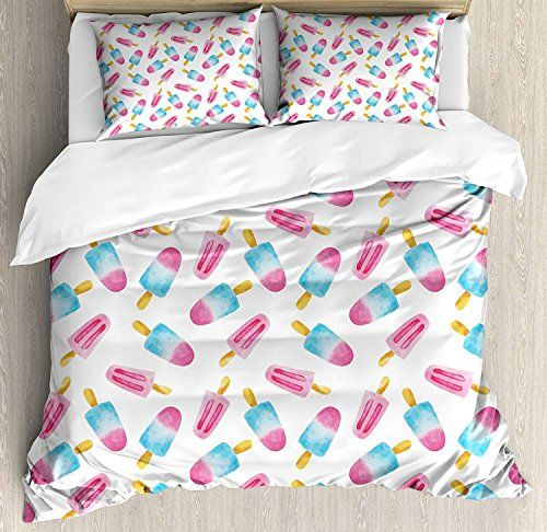 Ice Cream 4 Piece Bedding Printed Duvet Cover Set Queen Luxury Soft Microfiber For Hotel Bedroom Patte Cream Duvet Covers Cream Bedding Sets Duvet Cover Sets