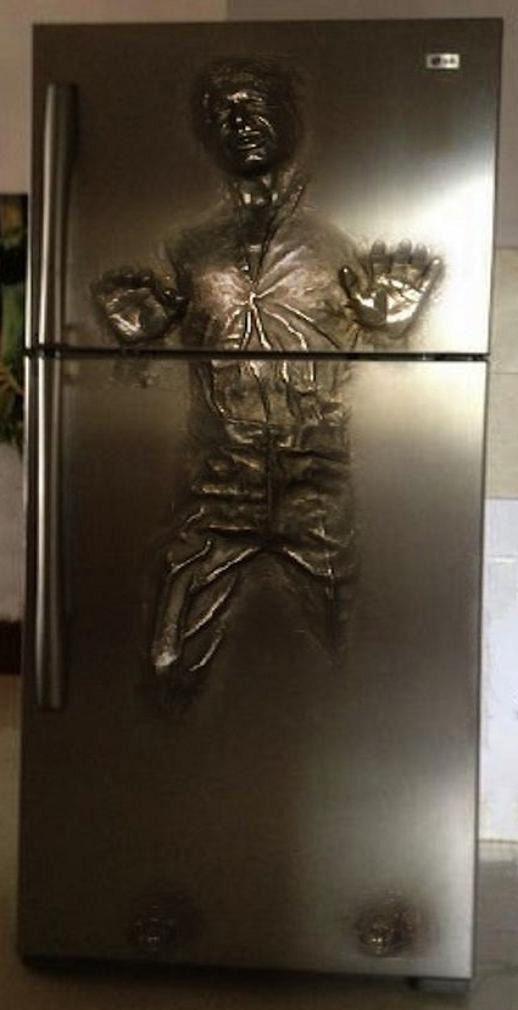 Han solo in carbonite star wars refrigerator wrap wraps war and refrigerators - Han solo carbonite wall art ...