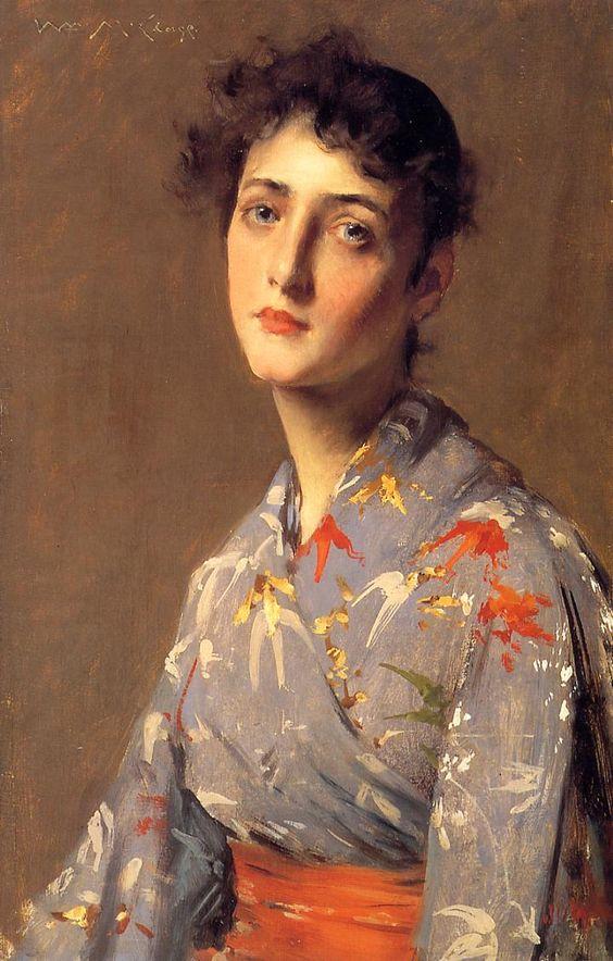 Girl in a Japanese Kimono  1890   William Merritt Chase   oil painting