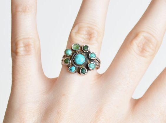 Vintage STERLING Silver / Green Turquoise Cluster Ring