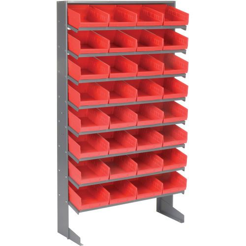 8 Shelf Floor Pick Rack With 32 Red Plastic Shelf Bins 8 Inch Wide 33x12x61 Plastic Shelves Shelf Bins Bins