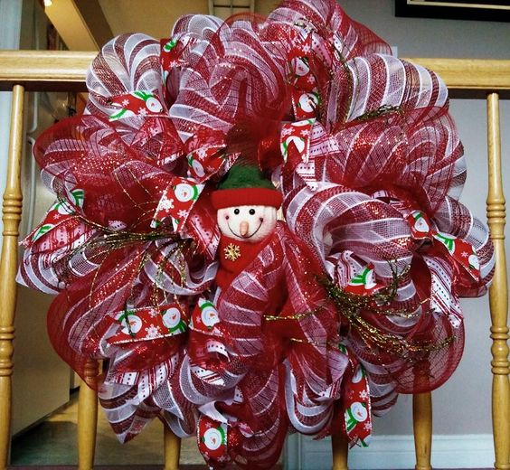 Deco mesh red and white , snowman wreath.