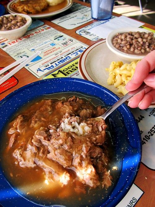 Goulash and black eyed peas at Eunice's Country Cookin' and Soul Food Cafe in Fort Smith. www.discoveramerica.com