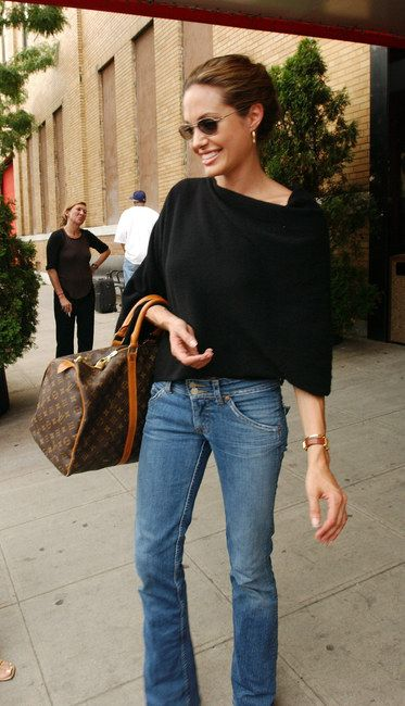 Angelina Jolie--love the style of shirt as is in black: