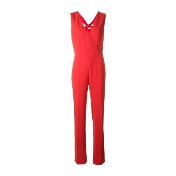 TORY BURCH Twist Detail Jumpsuit (€505) ❤ liked on Polyvore featuring jumpsuits, red, red jumpsuit, tory burch, red jump suit and jump suit