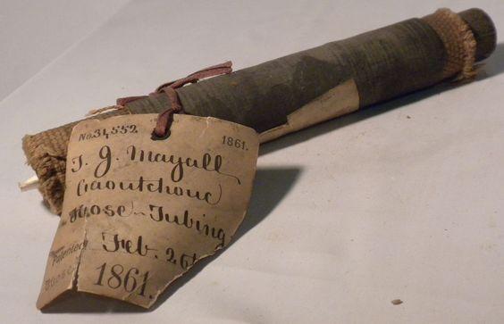Antique US Patent Model 1861 - Caoutchouc Hose - Civil War era hose with tags