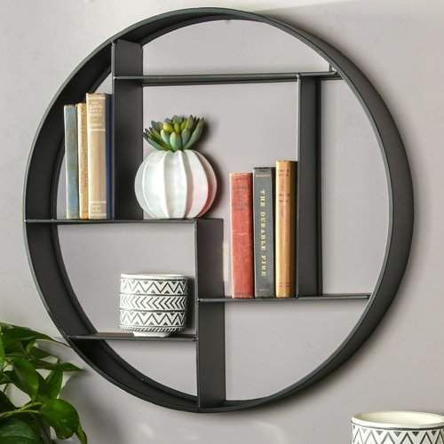 Brayden Studio Round Metal 7 Slot Wall Shelf Home Decor Homedecor