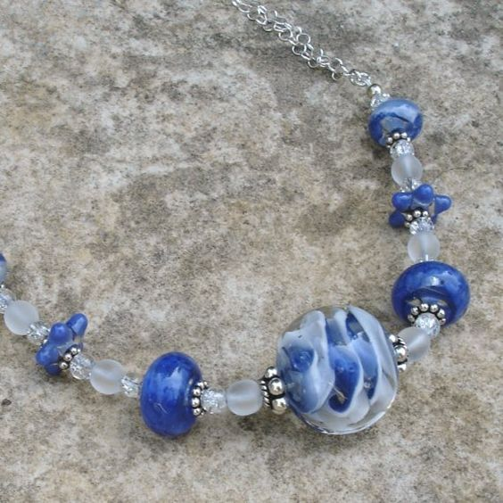 Blue White Swirl Boro Lampwork Art Glass and by NGHDesigns on Etsy, $132.00