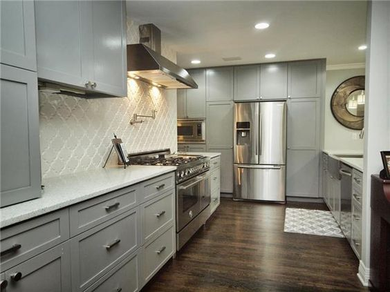 Grey, white and stainless kitchen at 2110 Griswold Ln, Austin TX #kitchens #austinrealestate #homedecor