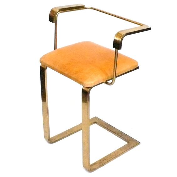 Brass and Leather Stool with Arms