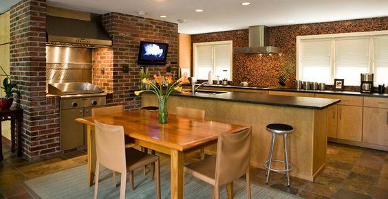 usonian design | Usonian kitchen remodel brushed granite counter stainless steel