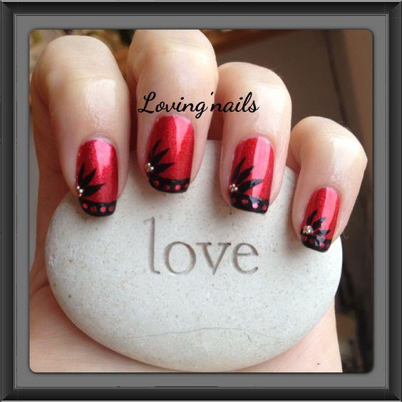 Fleur Rouge, Mariage Rouge, Idées Mariage, Naturels Nail, Des Francaises, Ongles Naturels, Art Des, Sur Ongles, Noir