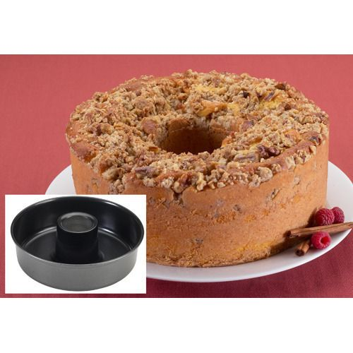Serve delicious coffee cakes at your next brunch, potluck or coffee club. Non-stick coated pan from Nordic Ware® allows for easy release and effortless clean up and creates cake rings just like fancy bakeries. Large donut shape pan with 13 cup liquid capacity. For cakes, fill pan 3/4 full. 10-1/2 x 3-1/2 deep.  10 year warranty. Made in the USA.