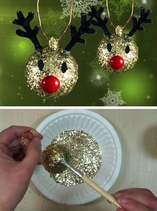 Glitter Reindeer Ornaments Rozhdestvenskie Ukrasheniya Svoimi