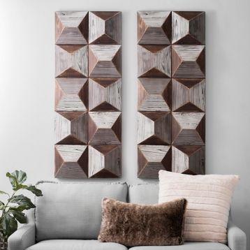 Gray Pyramids Wooden Wall Art Texturas