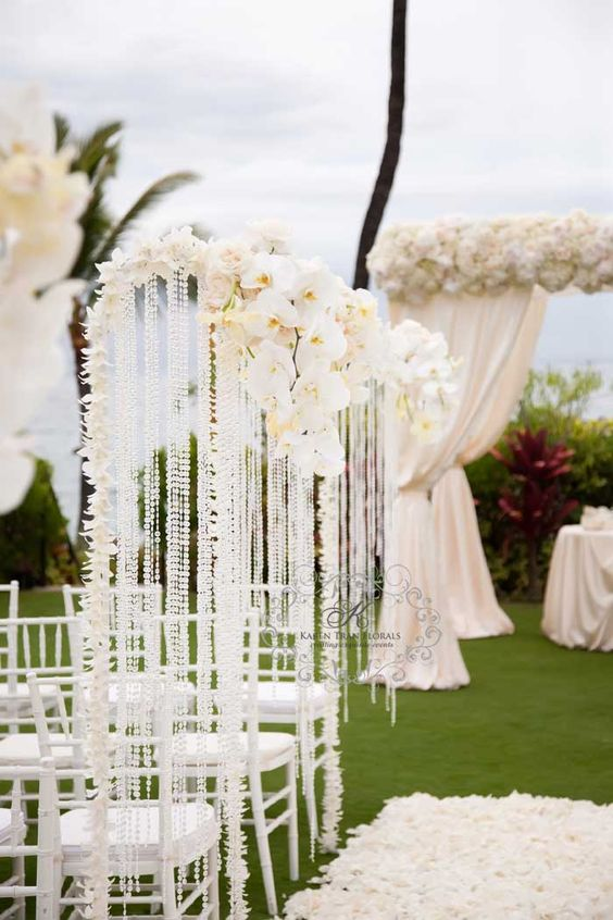 orchid and crystal wedding at Four Seasons Wailea