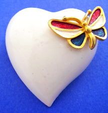 White Heart & Patriotic Enameled Butterfly Brooch