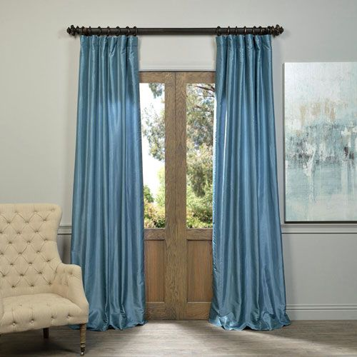 Provencial Blue Vintage Textured Faux Dupioni Silk Single Panel Curtain, 50 X 96