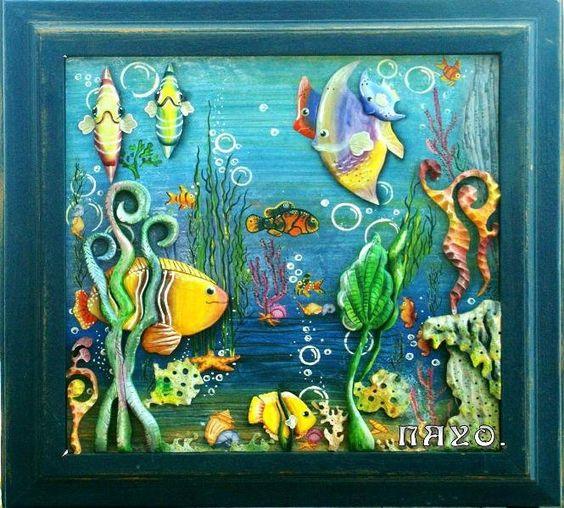 Cuadros decorativos de trupan con ceramica con textura y - Cuadros con peces ...