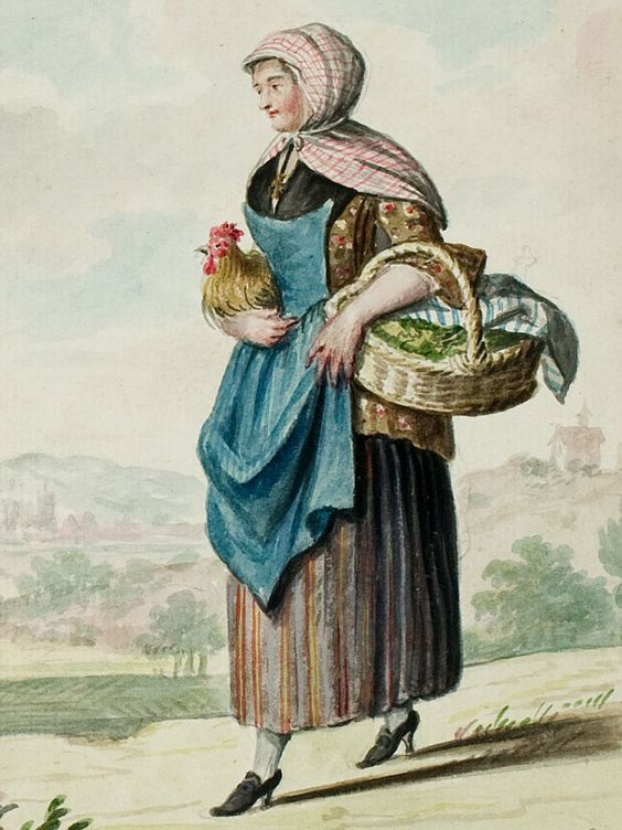 """1770s - 18th century - woman's outfit with mixed print fabrics (jacket in floral, skirt in stripes, apron in solid, and head kerchief in plaid/checks) - From """"An album containing 90 fine water color paintings of costumes."""" Turin : [s.n.] , [ca.1775]. In the collection of the Bunka Fashion College in Japan.:"""