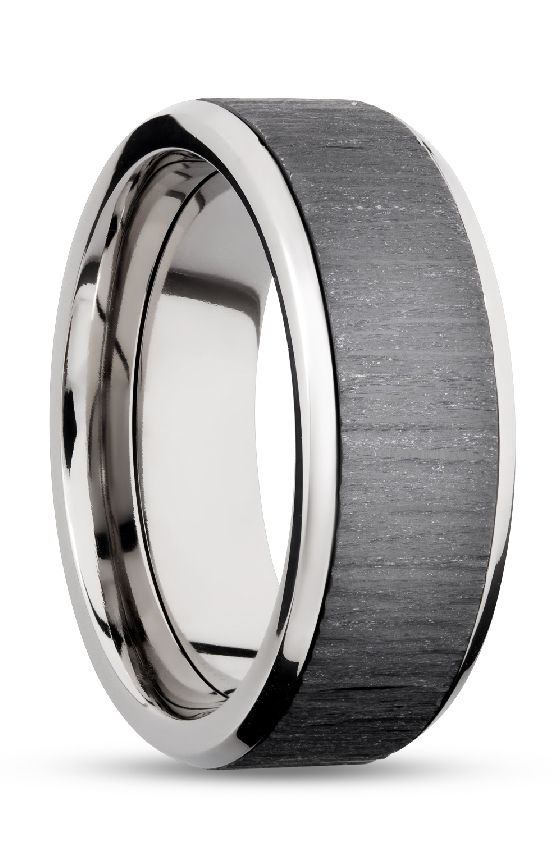 Platinum And Black Zirconium Wedding Ring For Men Black
