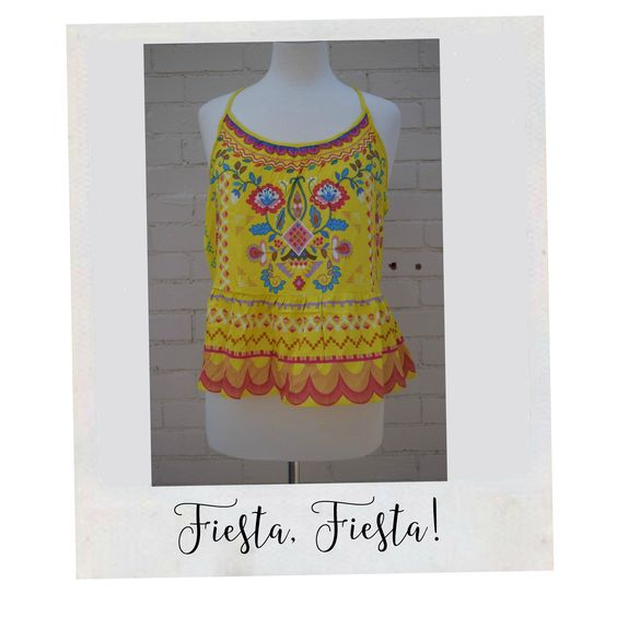Yellow mexican embroidered print top with detailed back.