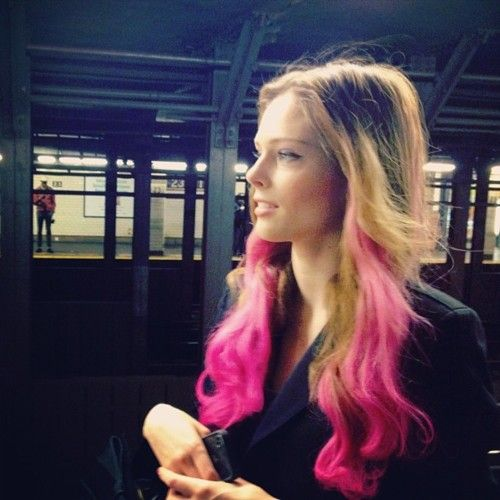 I have pink in my hair at the moment and don't feel as glamorous as this chick in the slightest.