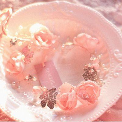 Schöne Nachahmungen von Perlen/Kunstseide/Kupfer Blumen und Federn/Stirnbänder (042063207)
