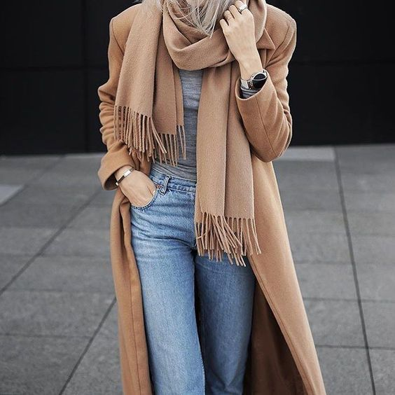 camel coat / camel scarf /grey tee / light denim jeans