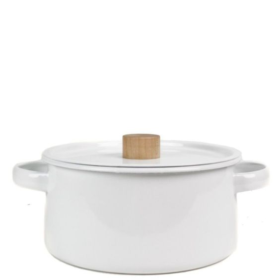 "<p>A beautiful white enamel cooking pan for vegetables, soups, rice, sauces, etc. Heavy, with two opposing handles and a close-fitting lid with a satiny wooden knob. With very subtly tapered sides to funnel the heat towards the center. 8"" diameter x 3.75"" tall. 2.6L. Made in Japan. </p>"