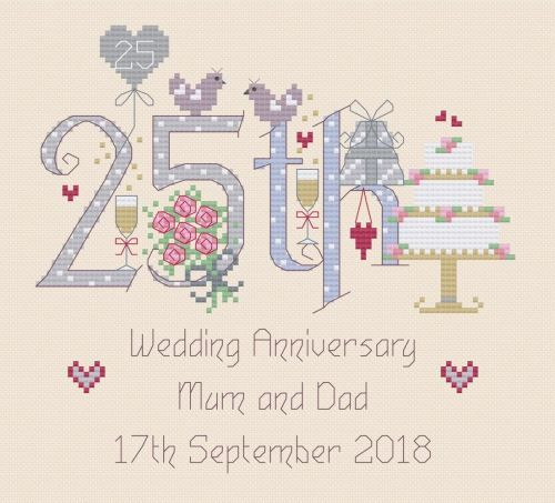 Cross stitch card for Silver Wedding Anniversary complete kit on 16 aida