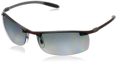 Ray-Ban mens 0RB8305 142/T3 Polarized Tech Carbon Fiber Rectangle Sunglasses,Light Carbon,63 mm -