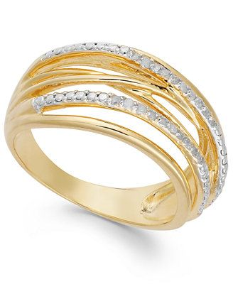 Victoria Townsend Diamond Crossover Ring in 18k Gold over Sterling Silver (1/10 ct. t.w.)
